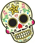 Mexican Day Of The Dead SUGAR SKULL Multi Colour With Moustache Motif External Vinyl Car Sticker 120x90mm